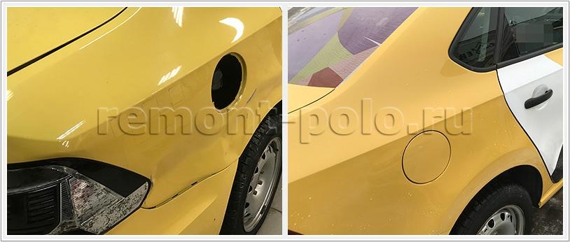 Ремонт крыла и багажника VW Polo седан