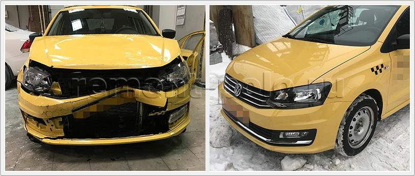 Ремонт кузова VW Polo после лобового удара