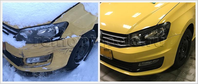 Ремонт кузова Поло с заменой и покраской деталей