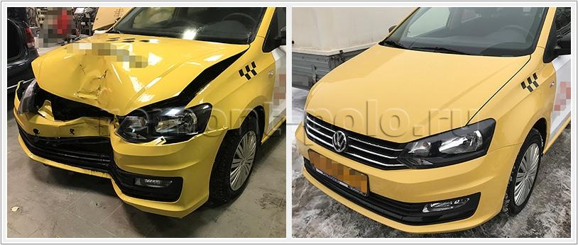 Ремонт такси VW Polo после серьезного ДТП