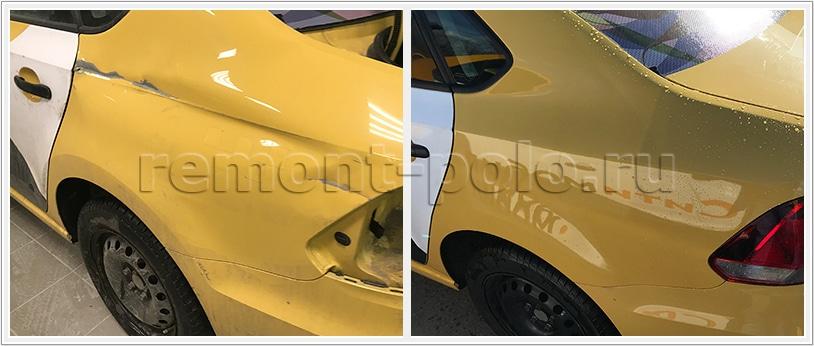 Ремонт VW Polo седан с восстановлением заднего крыла