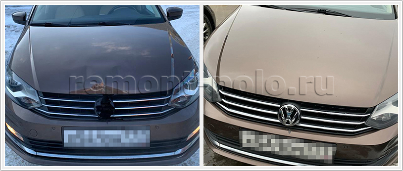 Ремонт кузова VW Polo с заменой капота