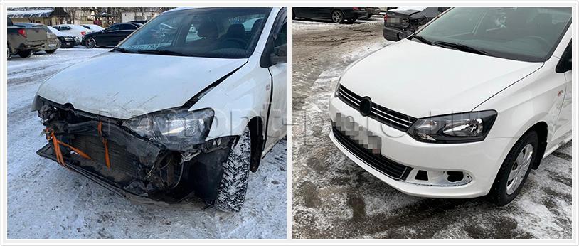 Ремонт кузова VW Polo с восстановлением капота