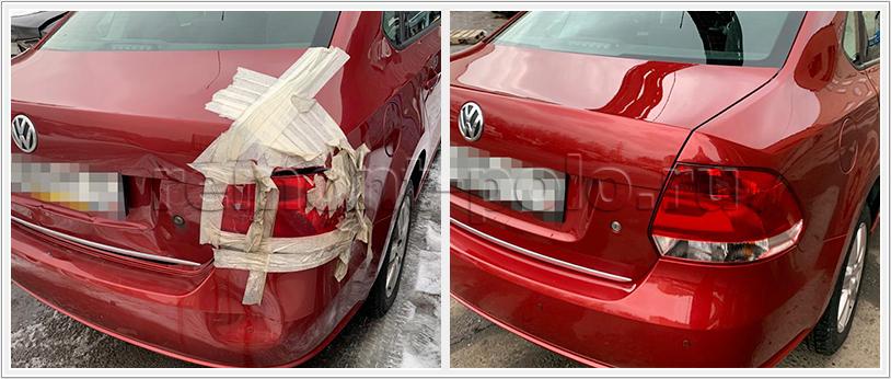 Ремонт кузова Поло седан с заменой бампера заднего