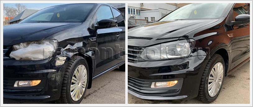 Ремонт бампера и замена крыла VW Polo седан