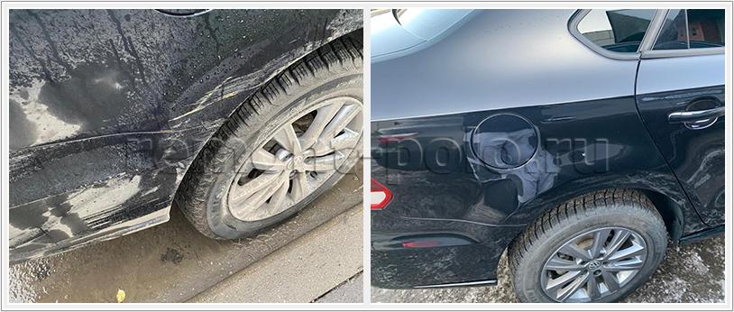 Ремонт правой части кузова VW Polo с покраской деталей