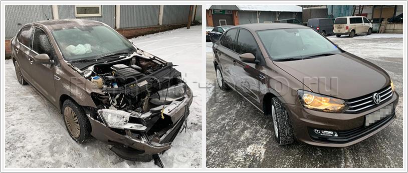 Восстановление седана VW Polo после сильного столкновения