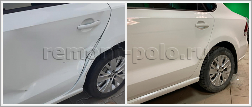 Замена, ремонт и покраска деталей левой стороны кузова VW Polo