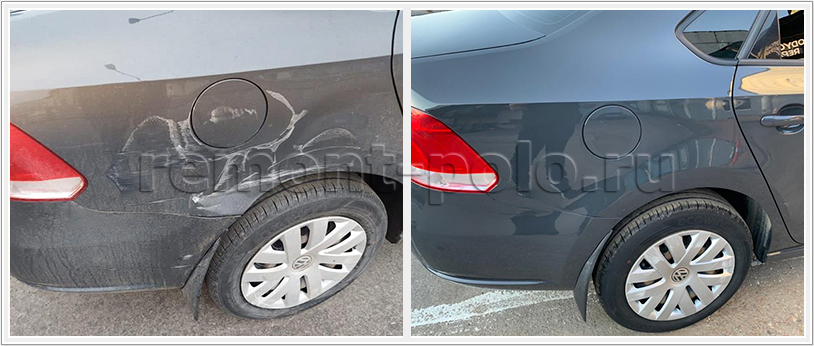 Устранение дефектов на заднем крыле автомобиля
