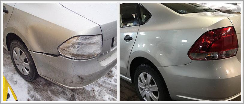 Ремонт заднего крыла VW Polo седан