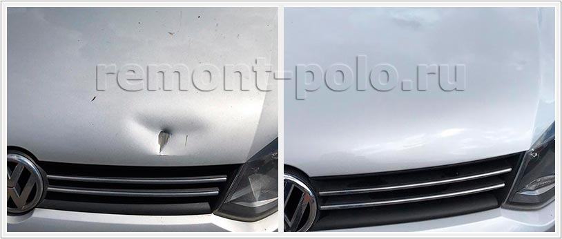 Ремонт капота VW Polo седан