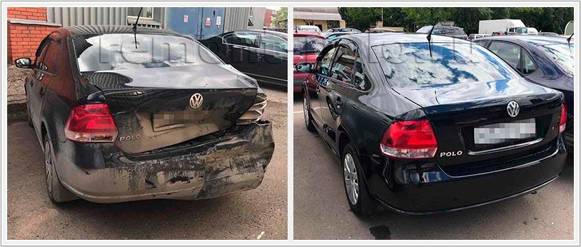 Восстановление VW Polo седан после сильного удара в заднюю часть кузова