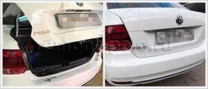 Замена крышки багажника VW Polo, покраска и жестяно-стапельные работы