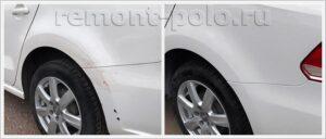 Ремонт и покраска двери, крыла и бампера VW Polo седан