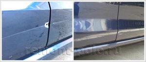 Ремонт задней правой двери Volkswagen Polo седан