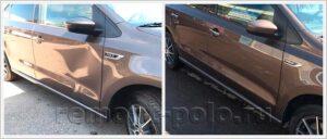 Восстановление седана Поло с ремонтом и покраской двери и крыла