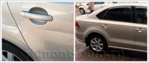 Ремонт глубокой царапины на VW Polo седан