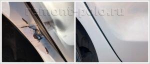 Ремонт глубокой вмятины на двери и крыле VW Polo седан
