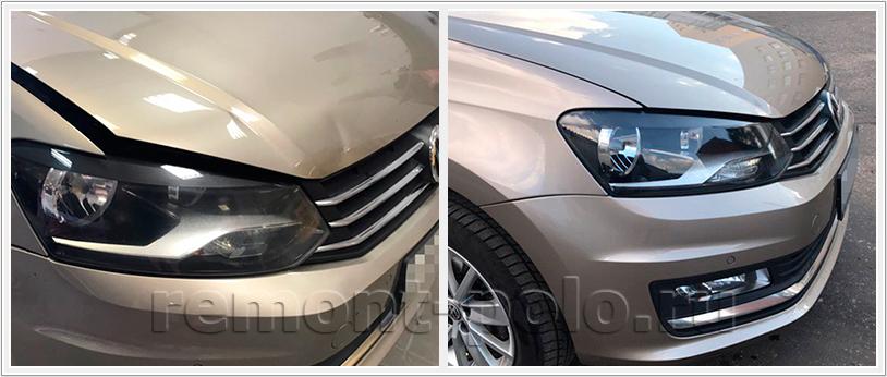 Ремонт VW Polo (рестайлинг) с заменой капота и покраской бамперов