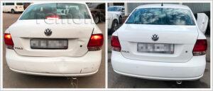 Ремонт кузова VW Polo седан с заменой крышки багажника и заднего бампера