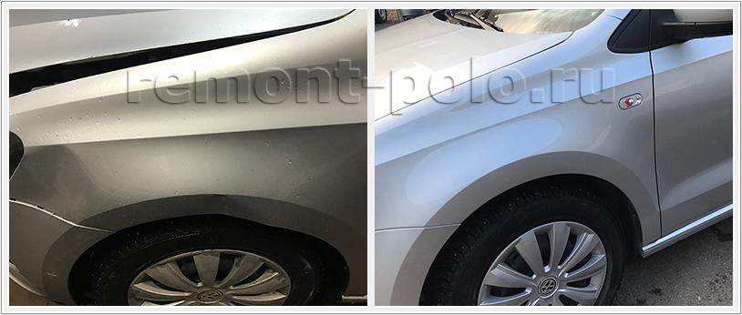 Восстановление VW Polo седан с ремонтом двери
