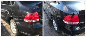 Ремонт и покраска заднего правого крыла VW Polo седан