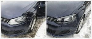 Кузовной ремонт VW Polo седан с заменой переднего левого крыла