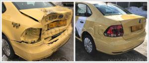 Ремонт задней части кузова Поло седан после сильного ДТП