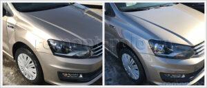 Замена переднего крыло VW Polo седан с покраской в цвет