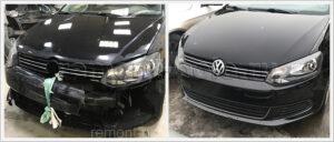 Ремонт кузова VW Polo с заменой и покраской обоих бамперов