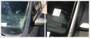 Вклейка лобового стекла и ремонт стойки на VW Polo седан