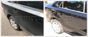Ремонт седана Поло с глубокой царапиной на правой части кузова
