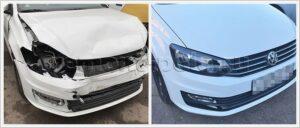 Ремонт кузова VW Polo после лобового столкновения