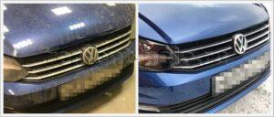 Ремонт и покраска капота VW Polo седан