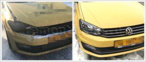 Ремонт капота, замена бампера и крыла VW Polo седан