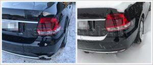 Ремонт кузова VW Polo с заменой заднего бампера