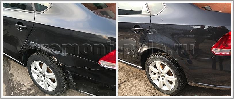 Восстановление деталей задней части кузова VW Polo