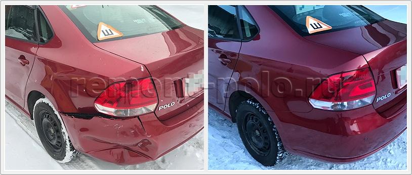 Ремонт VW Polo с заменой и восстановлением деталей кузова