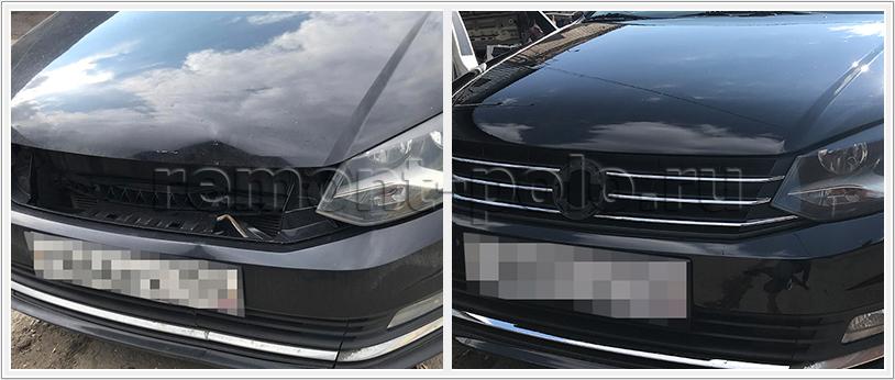 Ремонт капота и замена бампера Volkswagen Polo седан