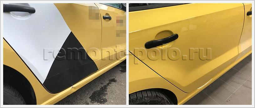 Ремонт двери и порога Volkswagen Polo седан