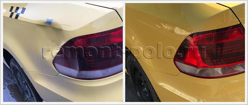 Ремонт и покраска заднего крыла VW Polo седан