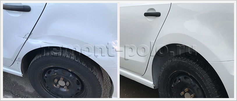 Ремонт левой стороны кузова VW Polo седан