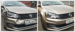 Ремонт капота и замена бампера VW Polo