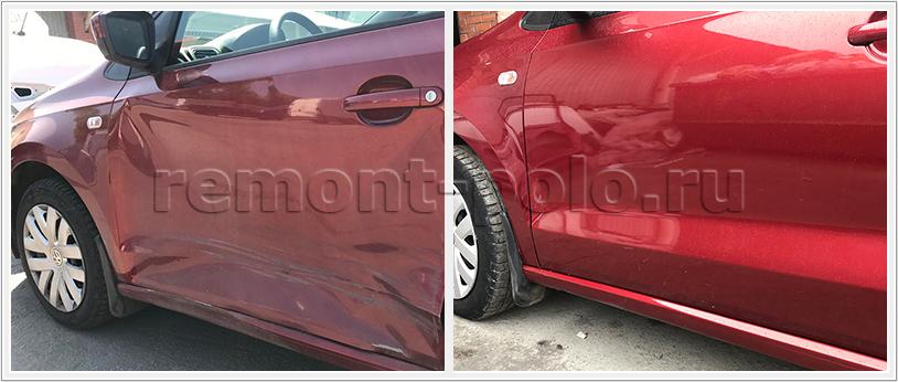 Ремонт порога VW Polo седан и замена двери