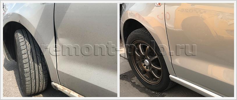 Ремонт двери и порога VW Polo седан