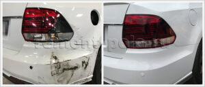 Ремонт VW Polo с заменой и покраской заднего бампера