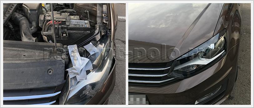 Кузовной ремонт VW Polo седан с заменой крыла