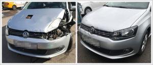 Ремонт передней части кузова Поло после аварии