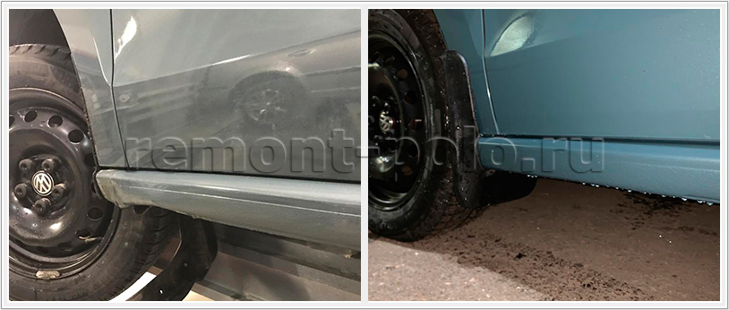 Ремонт и покраска порогов VW Polo седан