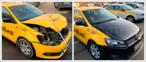 Ремонт кузова такси VW Polo седан